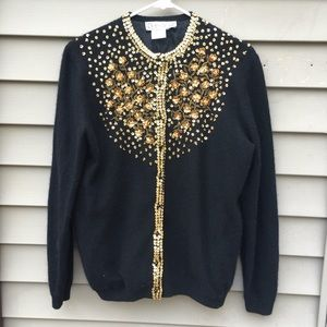 Vintage 50s beaded sequin cardigan sweater large
